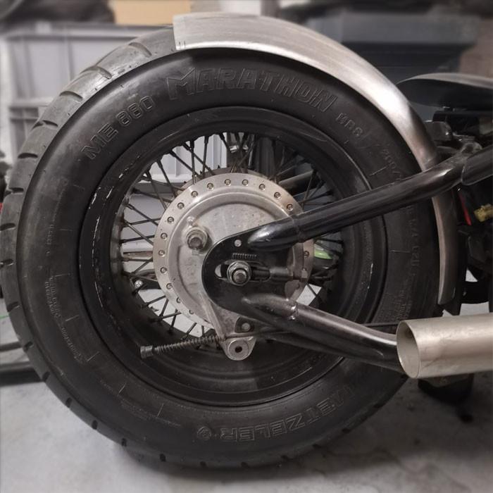 Runder Motorrad Stahlfender little Joe 200 mm breit