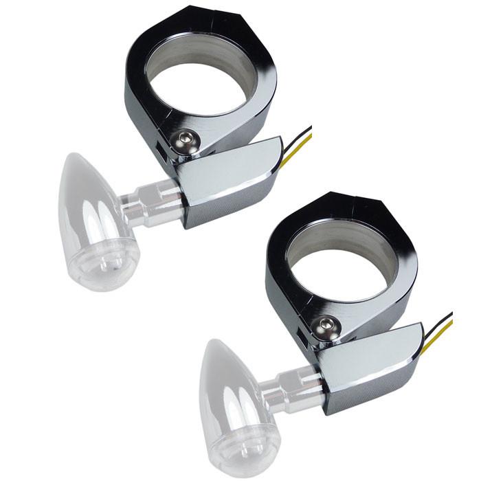 Chrom Aluminium Blinkerhalter für 35-37 mm Gabelrohre