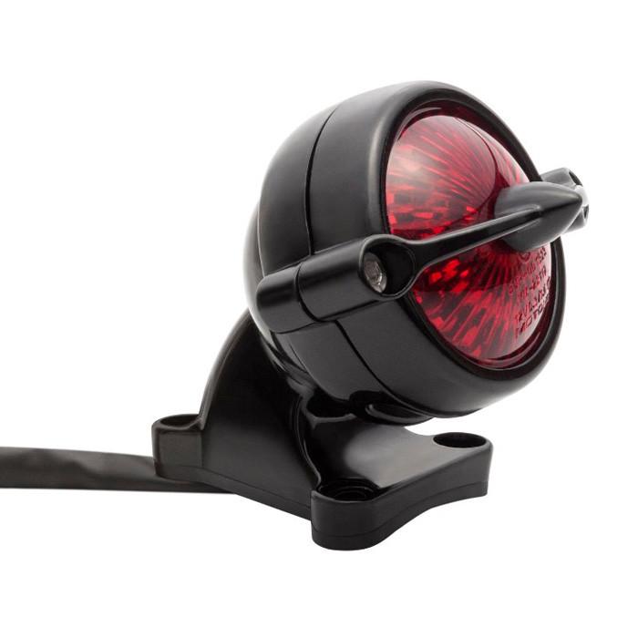 LED Aluminium Motorrad Rücklicht schwarz Round Bullet Style mit Halter