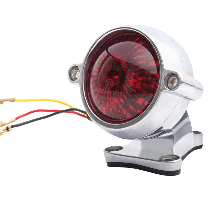 Poliertes LED Aluminium Motorrad Rücklicht Round Style mit Halter