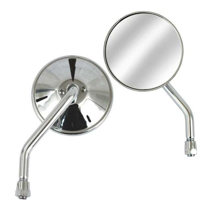 3 Zoll Spiegel links chrom mit 10 mm Gewinde