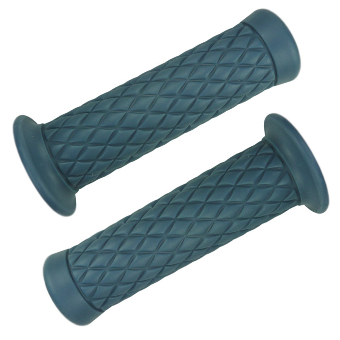 Blue Motorcycle Grips with diamond pattern for 22 mm handlebar