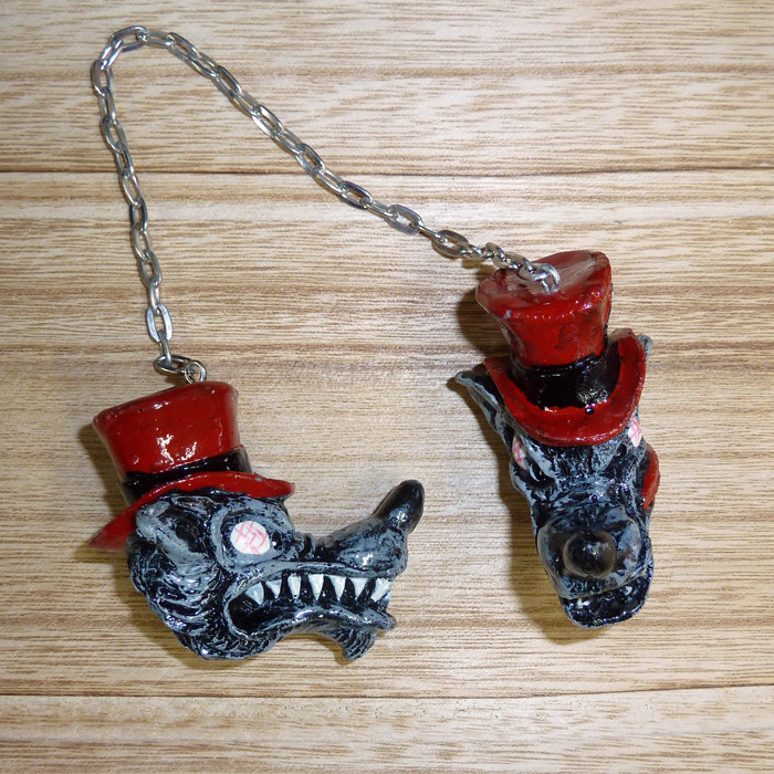 Lethal Threat Danglers Top Hat Wolf
