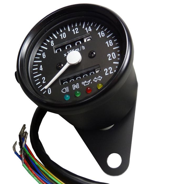 Mini Tachometer mit Kontrollleuchten - Schwarz