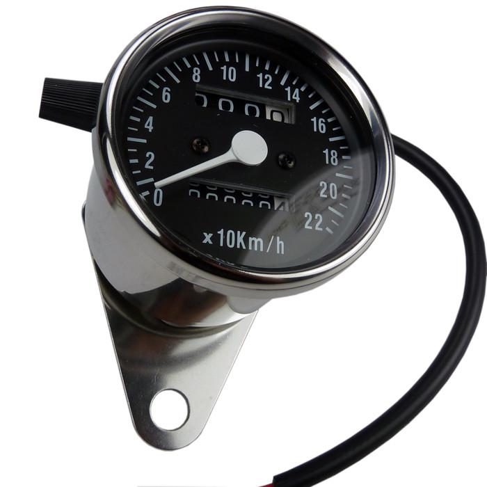 Mini Tachometer chrom schwarzes ZFB
