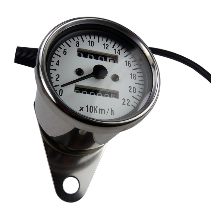 Mini Tachometer chrom weisses ZFB