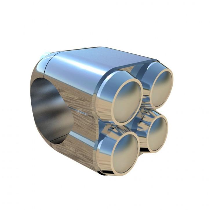 Chrom Aluminium Lenkertaster Quad für Zoll Lenker