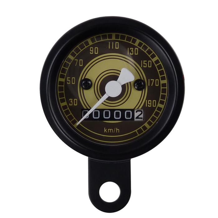 Schwarzer Mini Tachometer 48 mm Retro Style