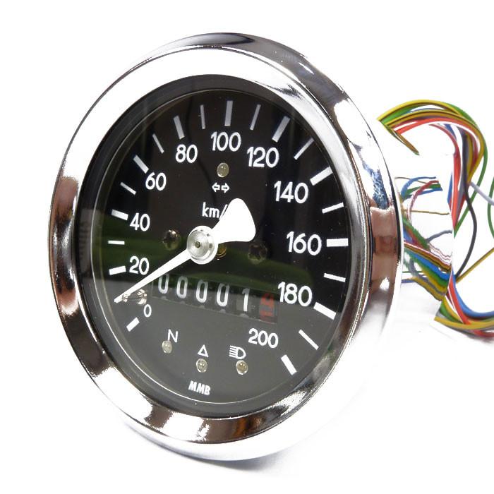 Kleiner Tachometer mit Kontrolleuchten chrom/schwarz