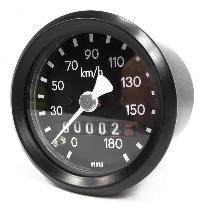 Kleiner 48 mm Tachometer schwarz made in Germany