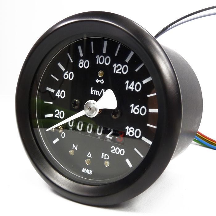 Kleiner Tachometer mit Kontrolleuchten schwarz