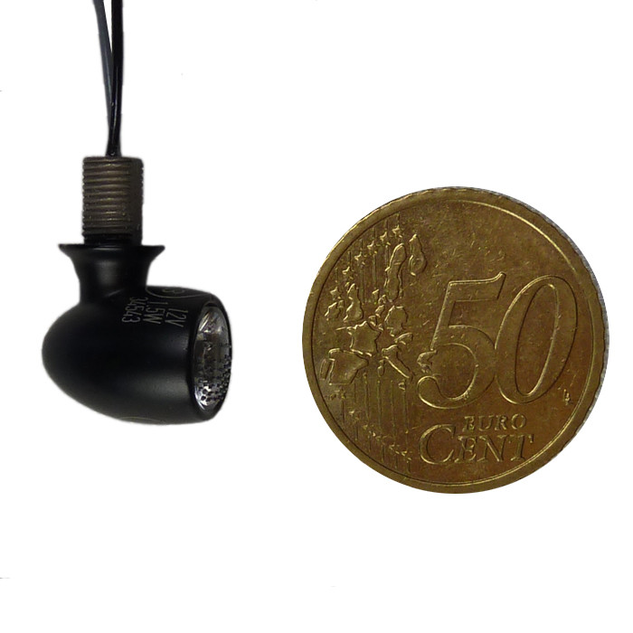 Schwarze Mini LED Rücklicht Blinker Kombination 1 cm DM