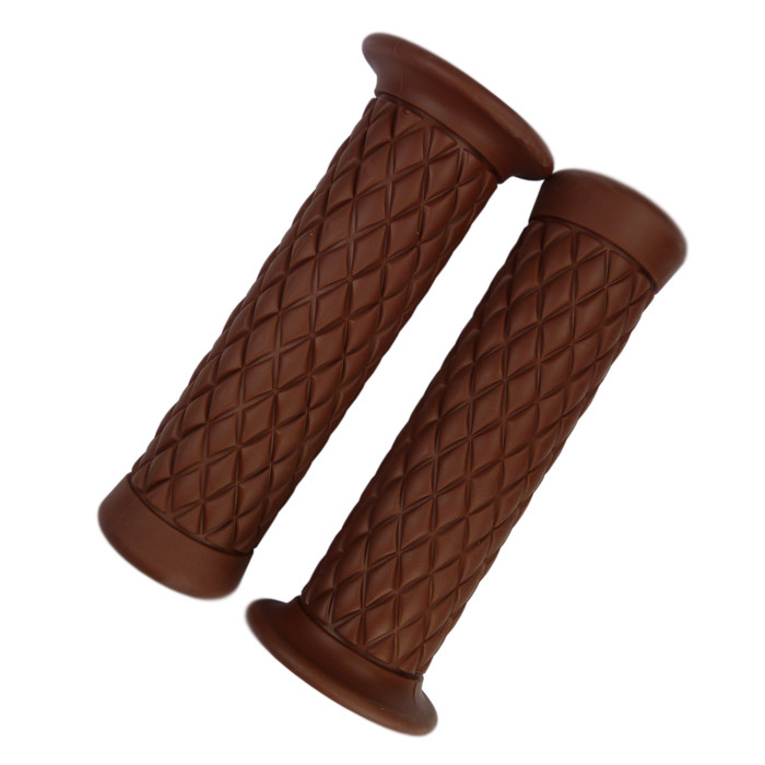 Brown Motorcycle Grips with diamond pattern for 22 mm handlebar