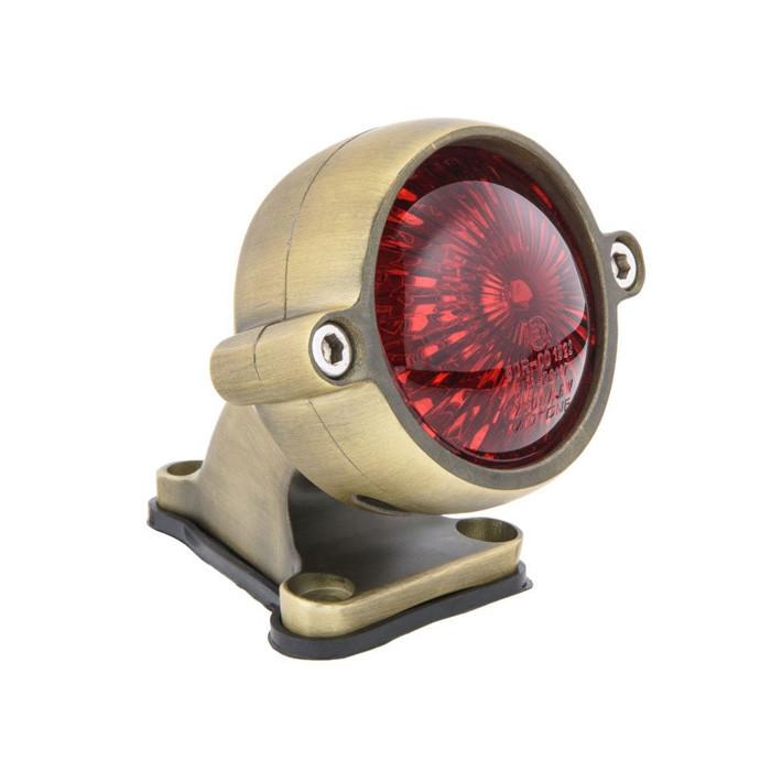 Messing finish LED Alu Rücklicht Round Style mit Halter