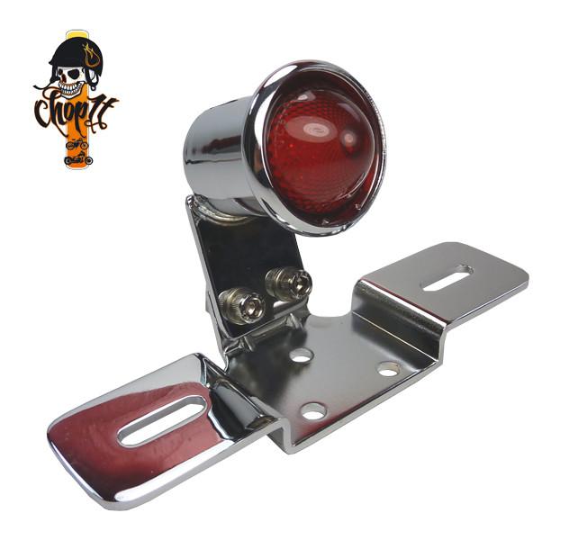 LED Rücklicht im Vintage Style mit Kennzeichhalter - chrom