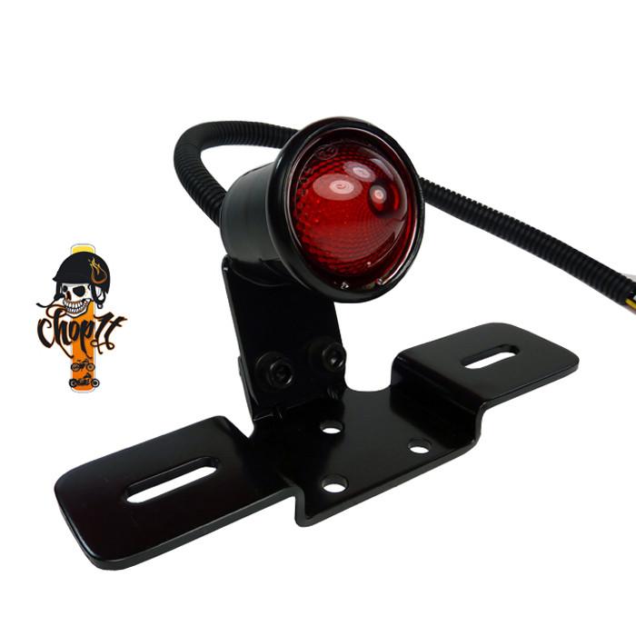 LED Rücklicht im Vintage Style mit Kennzeichhalter schwarz