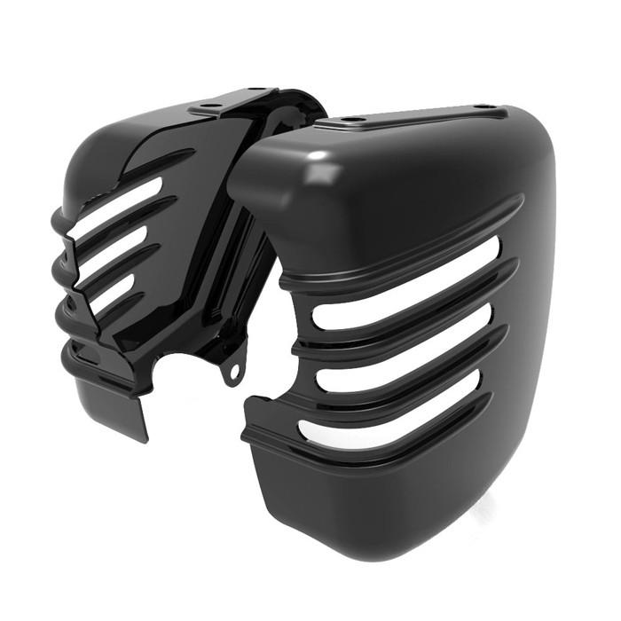 Zwei schwarze ribbed Seitendeckel für Triumph Modelle