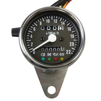 Mini Tachometer mit Kontrollleuchten ZB schwarz