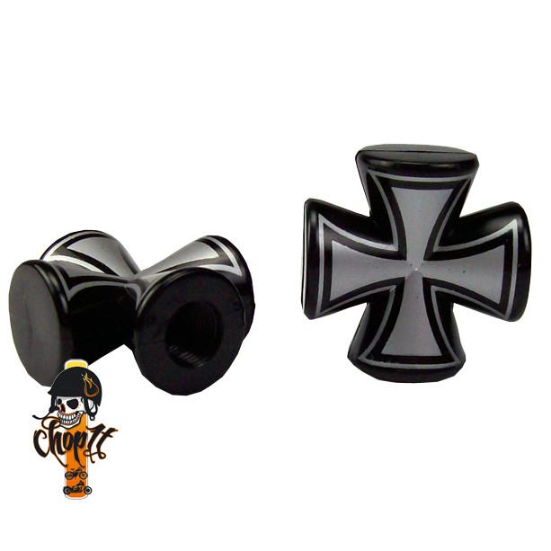 Ventilkappen Iron Cross rund - schwarz