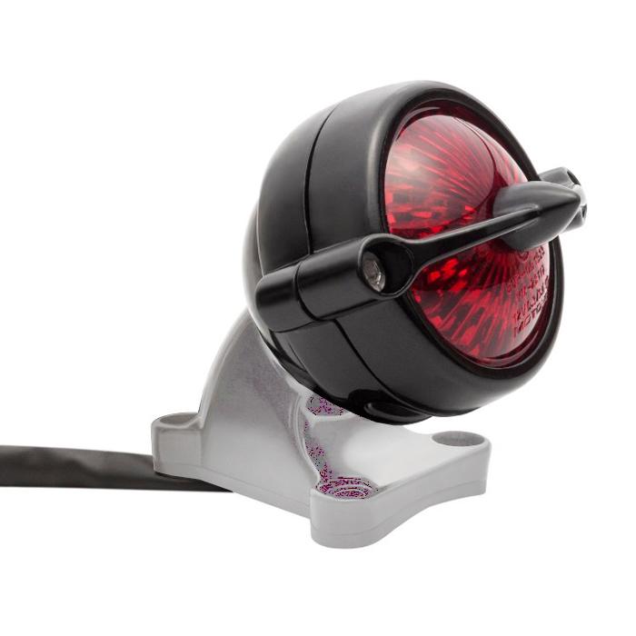 led aluminium motorrad r cklicht schwarz round bullet style. Black Bedroom Furniture Sets. Home Design Ideas