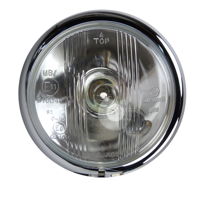Scheinwerfer Headlight Phare Faro Bates Style chrom 12cm