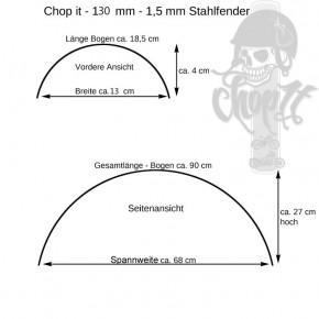 Runder Motorrad Stahlfender Jackie 130 mm breit ribbed