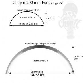 Runder Motorrad Stahlfender Joe 200 mm breit