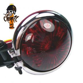 LED Rücklicht Bates Style schwarz mit Chromring