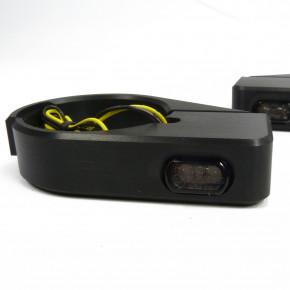 Schwarze Mini LED Blinker mit CNC Gabelhalter