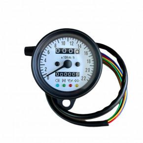 Mini Tachometer mit Kontrollleuchten schwarz/weiß
