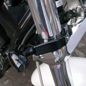 Massive Blinkerhalter schwarz für 41 mm Gabeldurchmesser