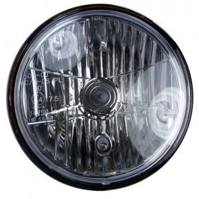 Scheinwerfer glänzend schwarz 7 Zoll mit seitlicher Befestigung