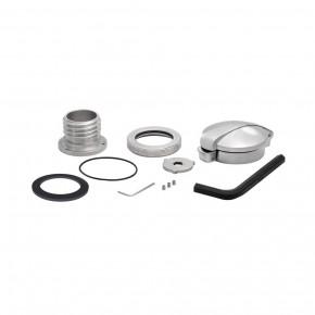 Tankdeckel Monza Union Jack Style schwarz/poliert mit Adapter für HD und Triumph