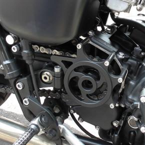 Schwarzer Kettenradschutz für Triumph Bonneville