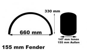 155 MM x 660 MM Stahl Fender D Profil