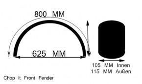 Ribbed 115 x 800 mm Front Fender Stahl für 18 Zoll Reifen